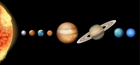and saturn: Illustration of the Solar System Illustration
