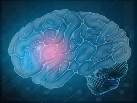 frontal lobe: Illustration of human brain with blue background