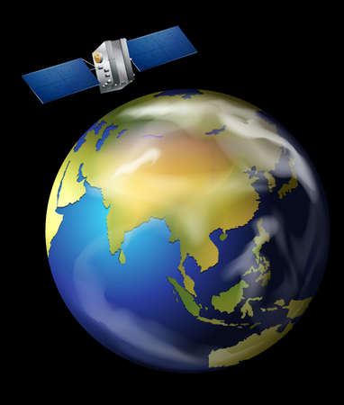 artificial satellite: Illustration of an artificial satellite orbiting Earth