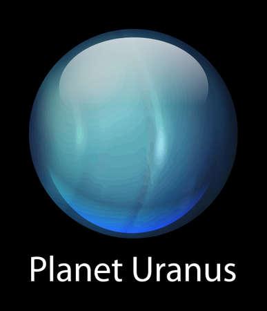 gaseous: Icon illustration of the planet Uranus