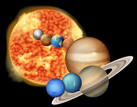 astronomer: Illustration showing the sun and planets