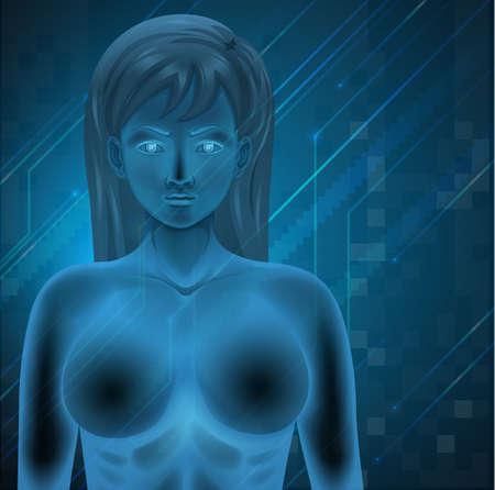 nucleotides: Ilustraci�n que muestra el ADN humano en un fondo azul