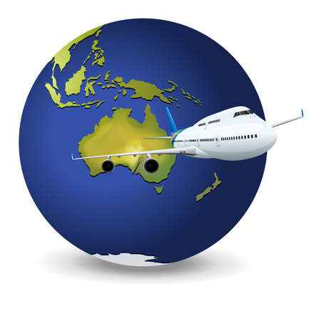 cruising: Illustration of travel concept - Earth and airplane Illustration