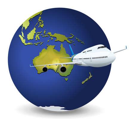 cruising: Illustrazione del concetto di viaggio - Terra e aereo