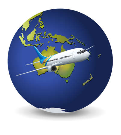 cockpit: Illustration of travel concept - Earth and airplane Illustration