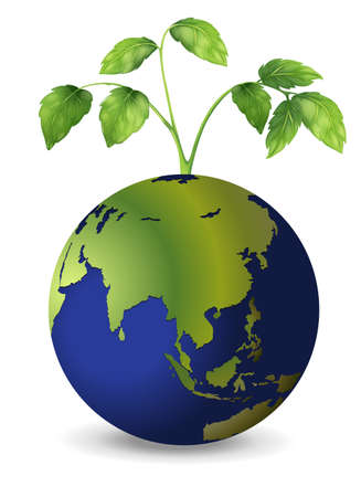 Illustration of the planet earth with growing plants Stock Vector - 20060155