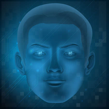 Illustration showing a face of a male on a blue background Vector