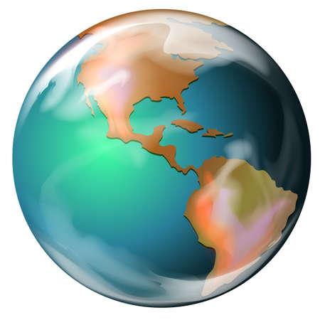 globe terrestre dessin: Illustration de la terre - la troisi�me plan�te du soleil Illustration