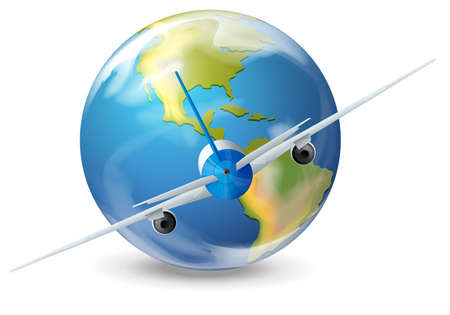cruising: Illustration of a plane and the planet earth
