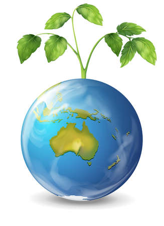 Illustration of the planet earth with a growing green plant Stock Vector - 20060256