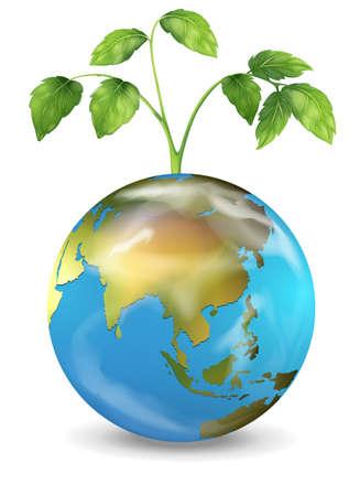 geografia: Ilustración de la tierra con una planta que crece