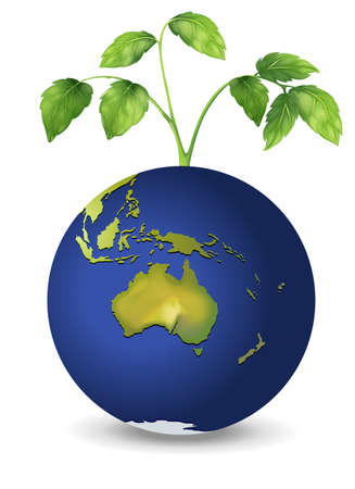Illustration of a plant above the planet earth Stock Vector - 20060154