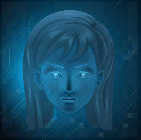 Illustration showing a female face on a blue background Stock Vector - 20060224