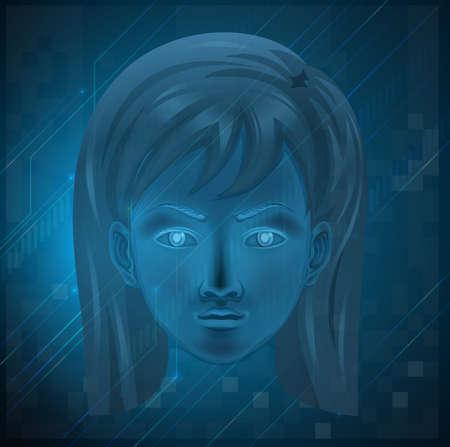 nostrils: Illustration showing a female face on a blue background Illustration