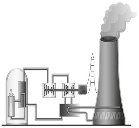 turbina de vapor: Ilustración de la Planta de Energía Nuclear Vectores