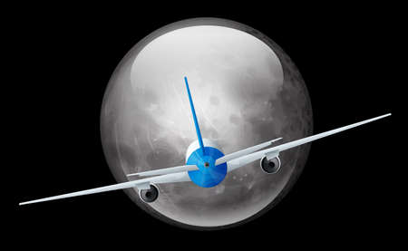 Illustration of the moon and airplane Ilustração