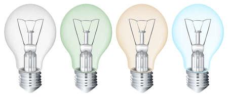 Illustration of the four flourescent bulbs Stock Vector - 20185332