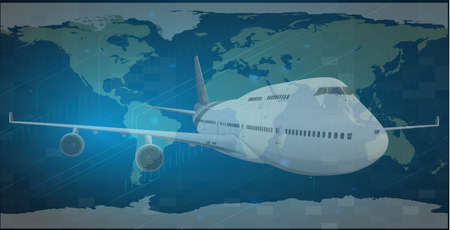 business class travel: Illustration of a travel concept- Earth and Airplane