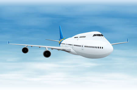 cockpit: Illustration of a commerical aircraft in flight