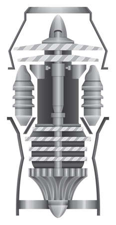 gas turbine: Illustration showing the structures of jet engine Illustration