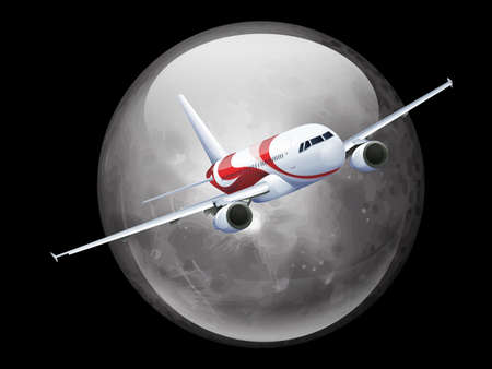 Illustration of the Moon and Plane