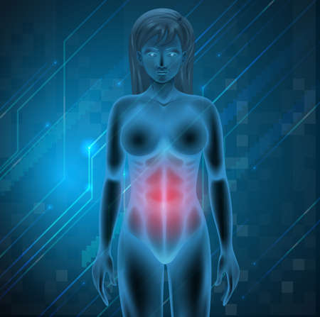 Illustration of a woman experiencing pain in the stomach Vector