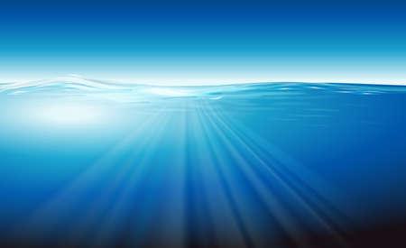 sonar: Illustrazione che mostra l'oceano Vettoriali