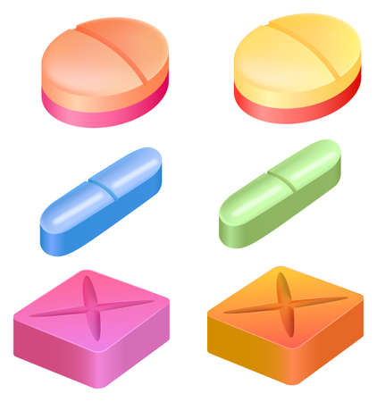infection prevention: Illustration showing the shapes of medicinal pills