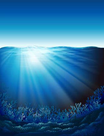 Illustration showing the underwater world