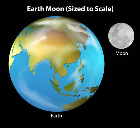 Illustration of the Earth and Moon Stock Vector - 20774785