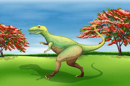 ギガノトサウルスを示す図  イラスト・ベクター素材