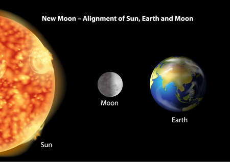 Illustration showing the alignment of the Earth, Moon and Sun Vector