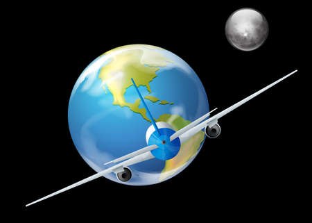 alumina: Illustration showing the earth and plane