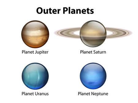 gravedad: Ilustración que muestra los planetas exteriores Vectores