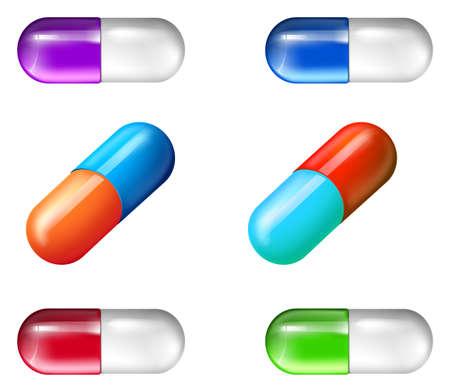 injected: Illustration showing the medicine pills Illustration