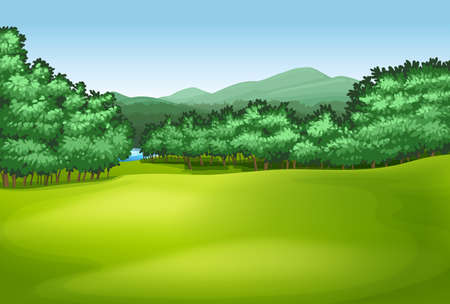 Illustration showing the trees Vector