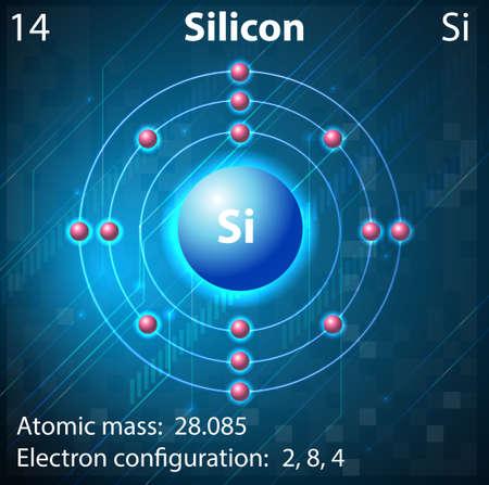 silicio: Ilustraci�n del elemento silicio Vectores