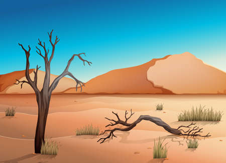 saltation: Illustration of a desert Illustration