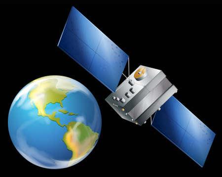 Ilustración de un satélite artificial Foto de archivo - 22386043