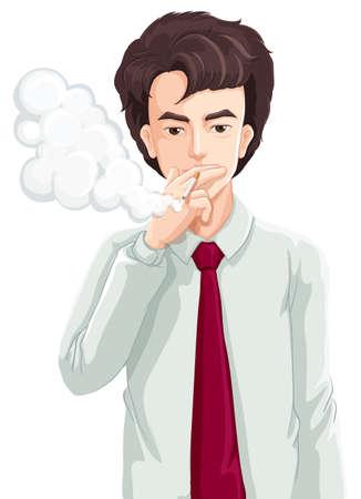 mal aliento: Ilustraci?n de un hombre que fuma en un fondo blanco Vectores
