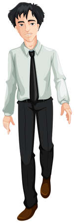 tall man: Illustration of an office guy on a white background