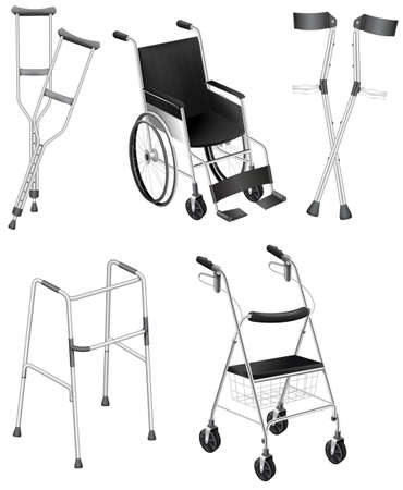 Illustration of the crutches and wheelchairs on a white background Vector