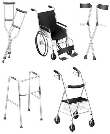Illustrazione delle stampelle e sedie a rotelle su uno sfondo bianco Vettoriali