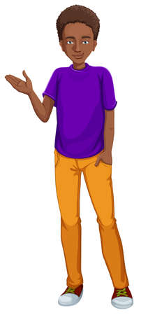 paternity: Illustration of an african-american guy on a white background