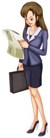 personne seule: Illustration d'une femme lisant un journal sur un fond blanc Illustration