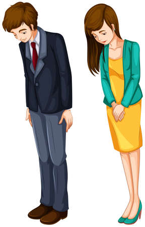 upset woman: Illustration of a girl and a boy in their formal attires on a white background