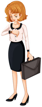paper case: Illustration of a woman watching her watch while holding an attache case on a white background
