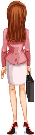 businesswoman skirt: Illustration of a backview of a woman on a white background