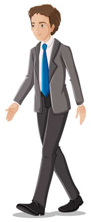 Ilustración de un hombre de negocios en su traje formal con una corbata azul sobre un fondo blanco Ilustración de vector