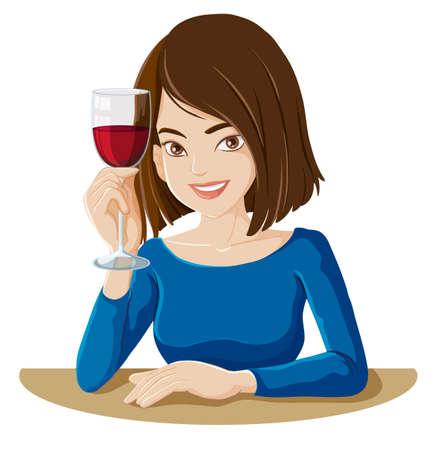 sorriso donna: Illustrazione di una donna in possesso di un bicchiere di vino rosso su sfondo bianco